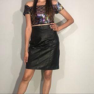 1980s black leather skirt